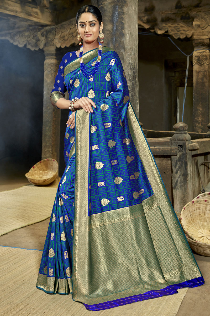 Blue Color Banarasi Silk Fabric Occasion Wear Saree With Weaving Work And Designer Blouse