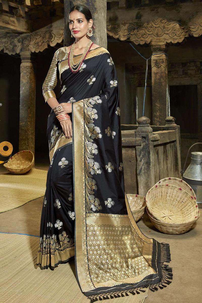 Weaving Work Banarasi Silk Fabric Fancy Black Color Saree