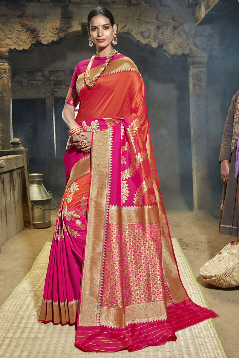 Fancy Weaving Work Banarasi Silk Fabric Saree In Orange And Dark Pink Color