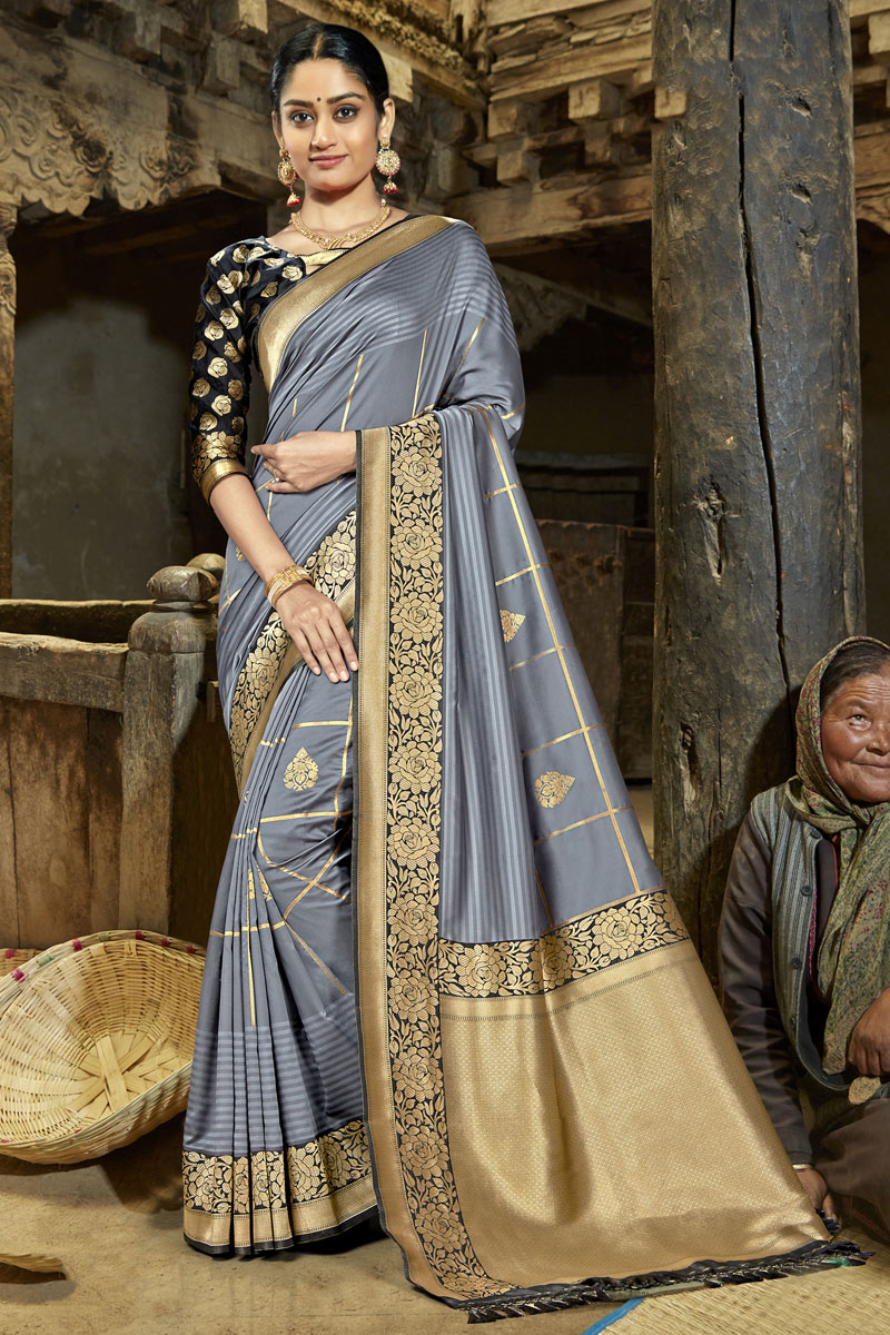 Banarasi Silk Fabric Grey Color Designer Saree With Weaving Work And Party Wear Blouse