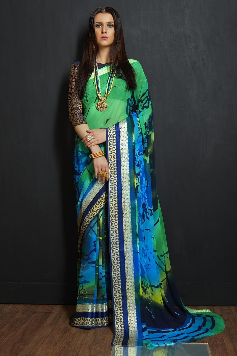 Viscose Fabric Office Party Style Multi Color Printed Saree