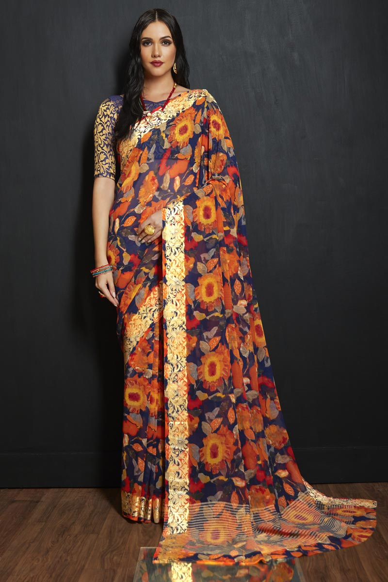 Office Party Style Navy Blue Printed Viscose Fabric Saree