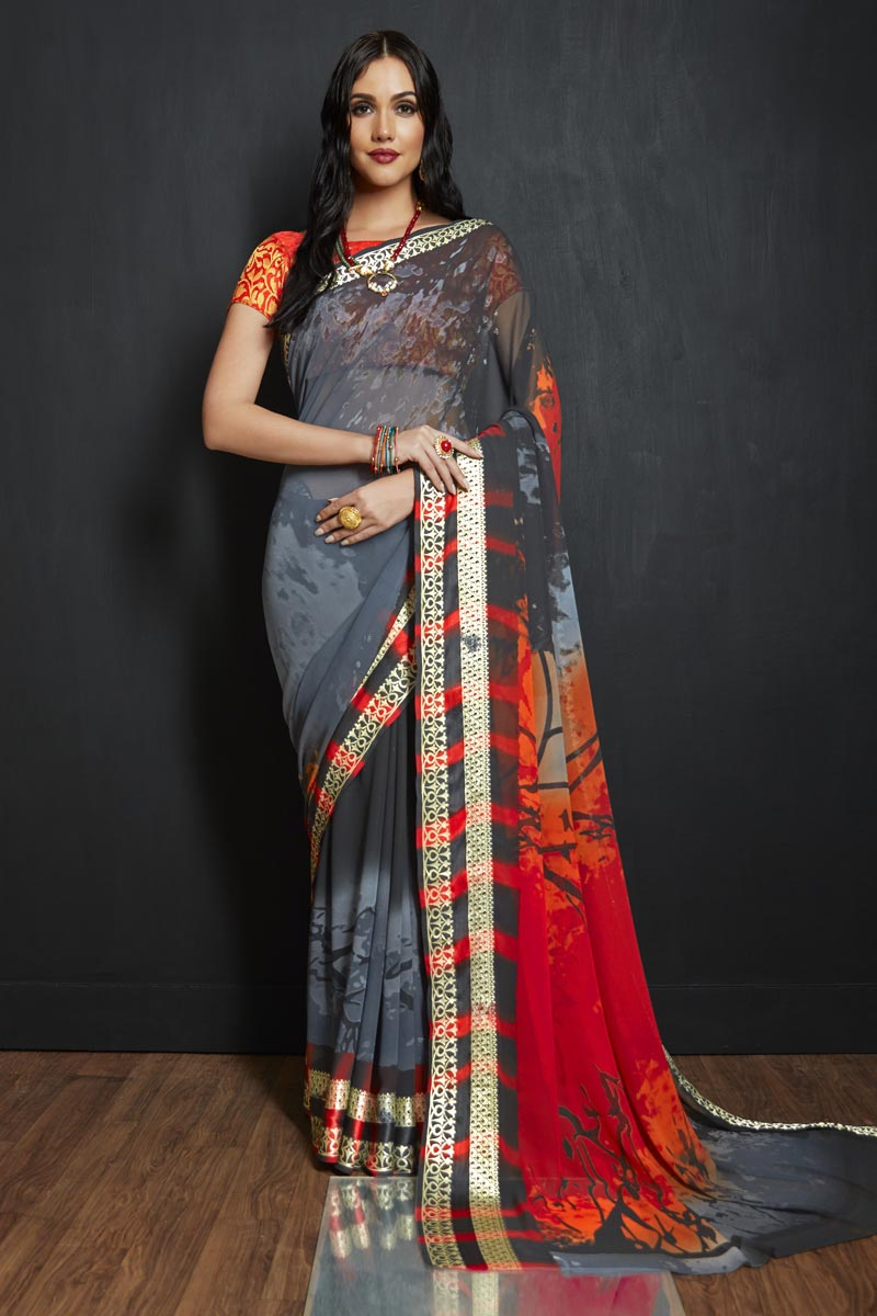 Viscose Fabric Grey Office Party Style Printed Saree