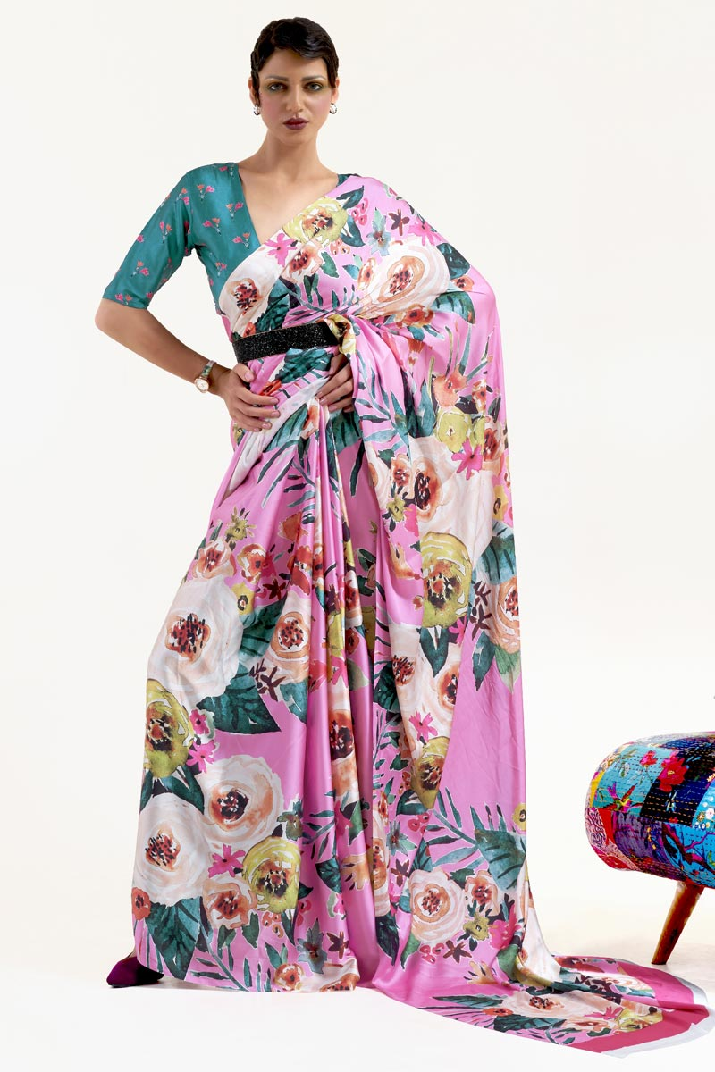 Festive Wear Chic Art Silk Fabric Printed Saree In Pink Color
