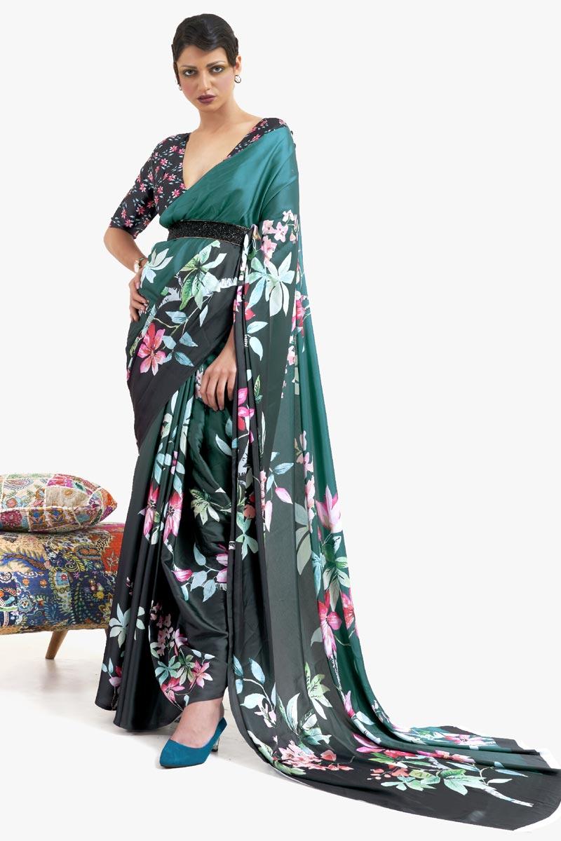 Teal Color Festive Wear Chic Printed Art Silk Fabric Saree