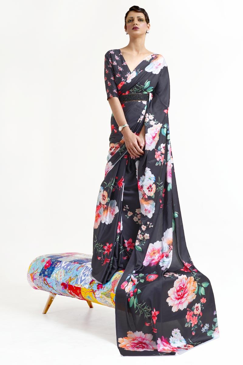 Festive Wear Chic Art Silk Fabric Black Color Printed Saree