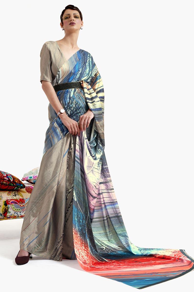 Cream Color Festive Wear Chic Art Silk Fabric Printed Saree