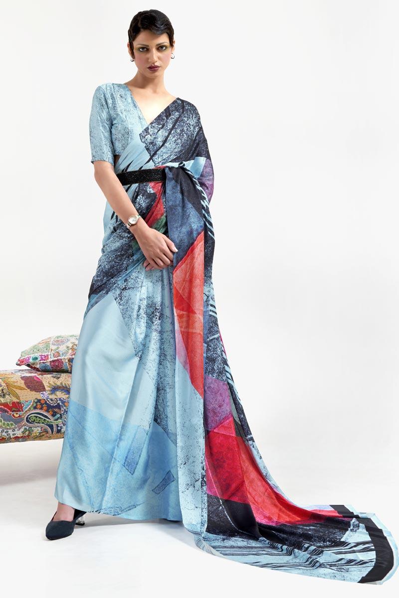 Festive Wear Art Silk Fabric Chic Light Cyan Color Printed Saree