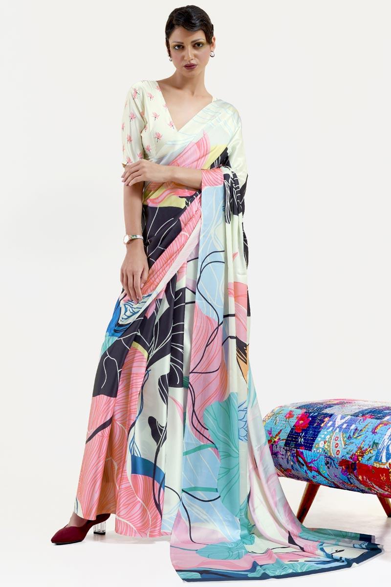 Festive Wear Chic Multi Color Printed Saree In Art Silk Fabric