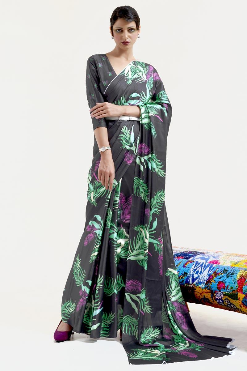 Art Silk Fabric Festive Wear Chic Printed Black Color Saree