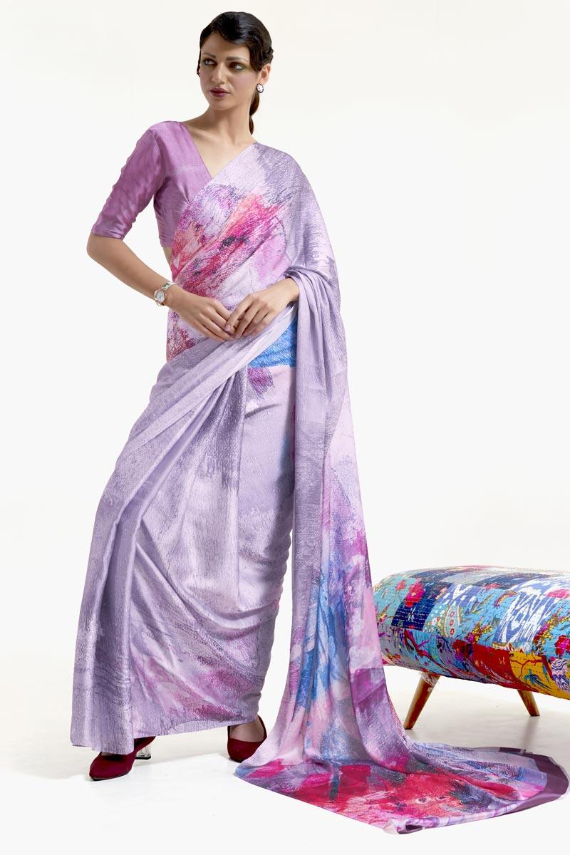 Lavender Color Chic Festive Wear Art Silk Fabric Printed Saree