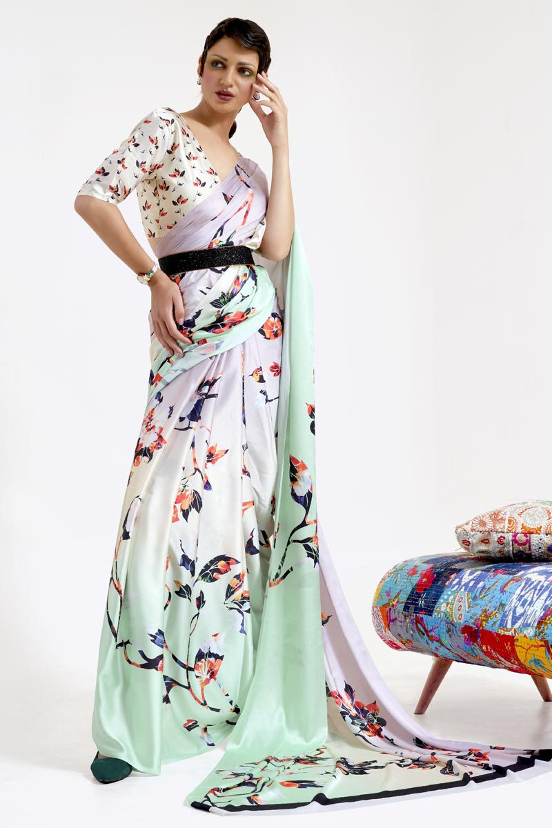 Festive Wear Chic Sea Green Color Art Silk Fabric Printed Saree