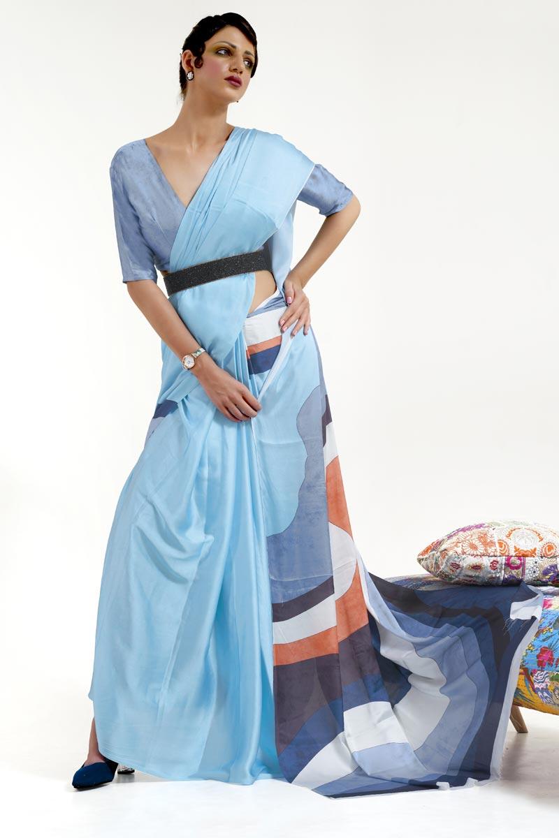 Art Silk Fabric Festive Wear Chic Light Cyan Color Printed Saree