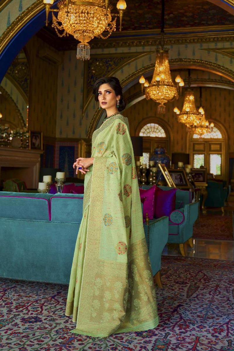 Sea Green Color Party Style Classic Weaving Work Saree In Art Silk Fabric
