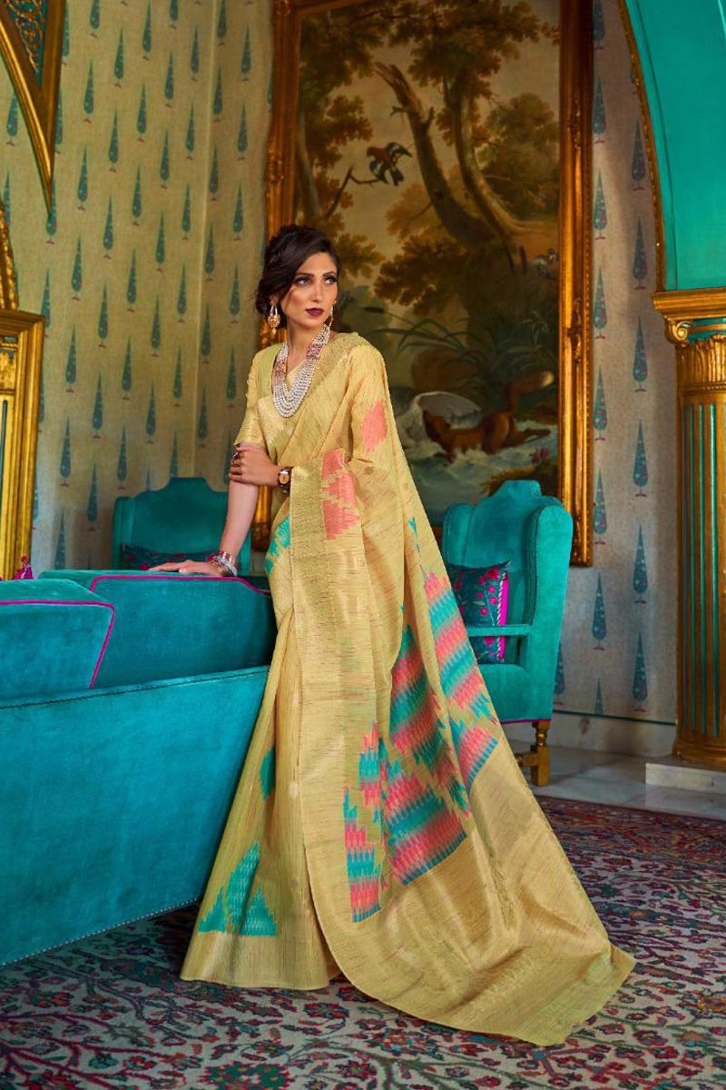 Party Style Yellow Color Classic Art Silk Fabric Weaving Work Saree