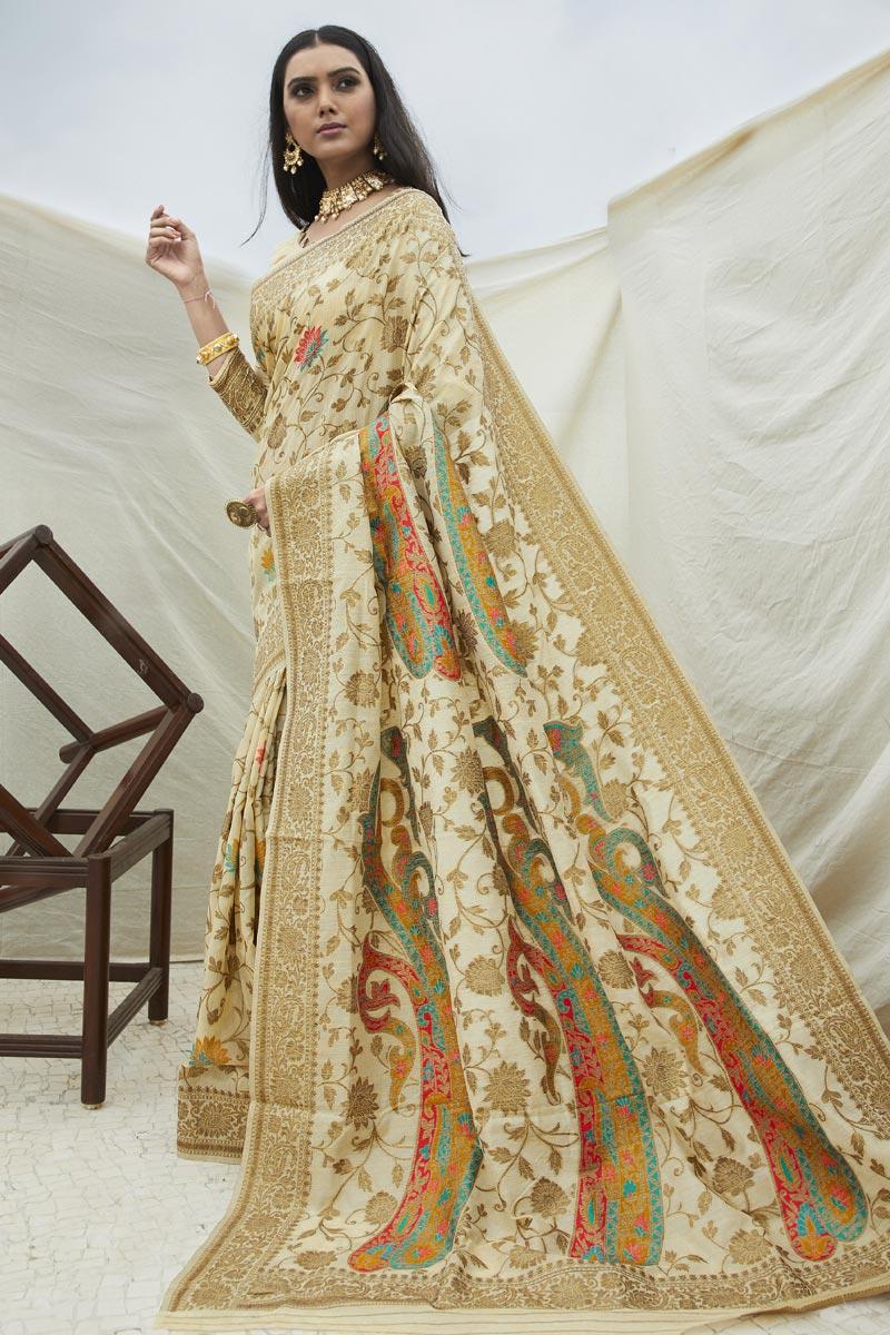 Chic Sangeet Wear Beige Color Weaving Work Saree In Art Silk Fabric