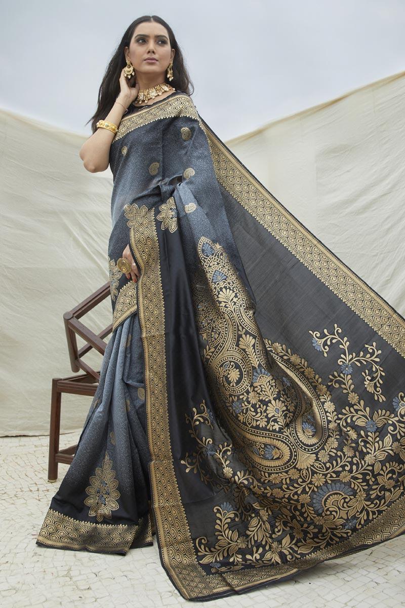 Sangeet Wear Grey Color Chic Art Silk Fabric Weaving Work Saree