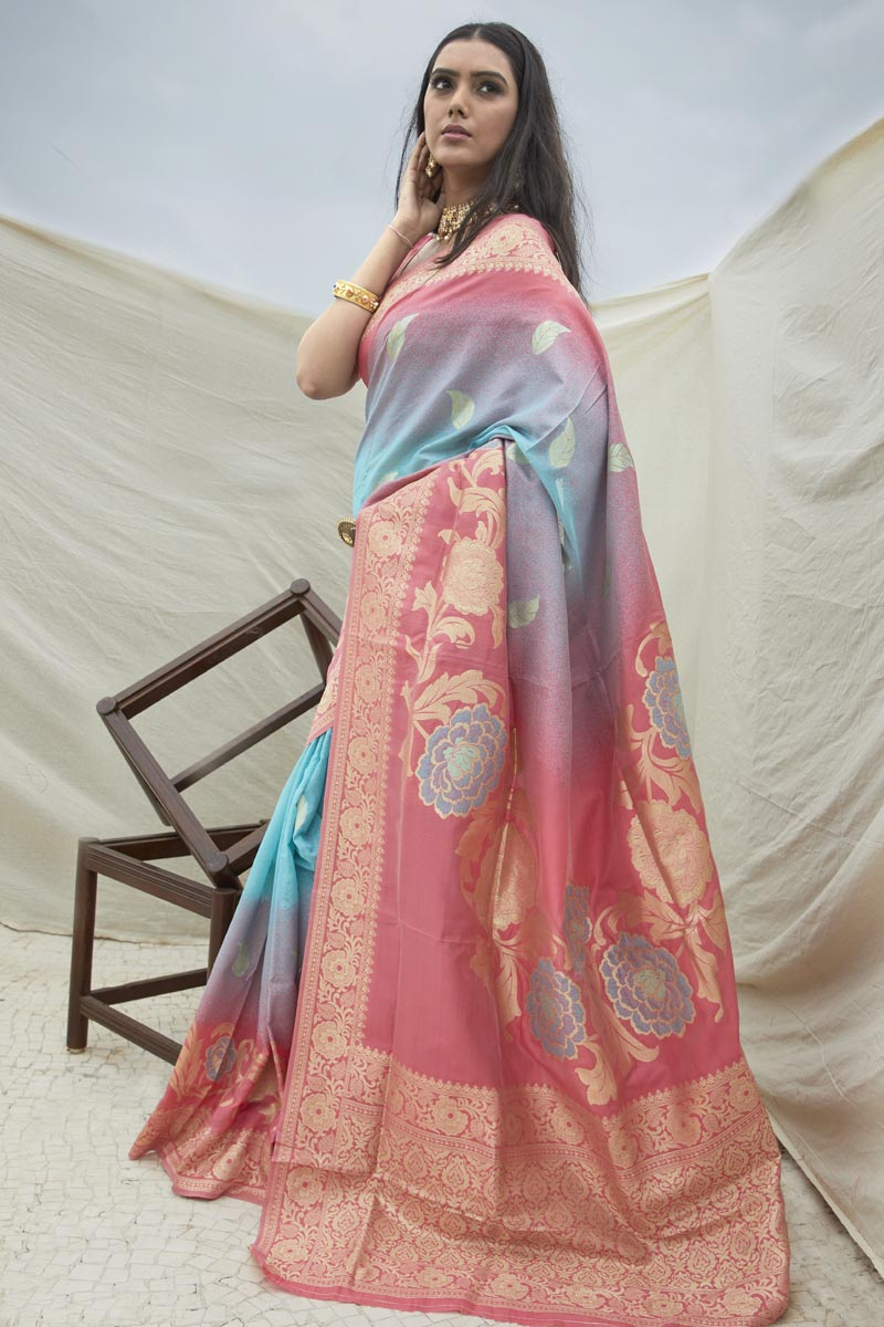 Chic Art Silk Fabric Sangeet Wear Pink Color Weaving Work Saree