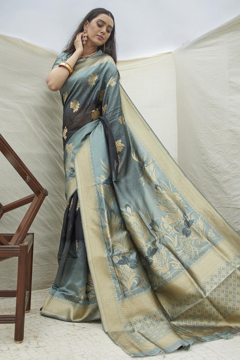 Sangeet Wear Art Silk Fabric Chic Weaving Work Saree In Grey Color