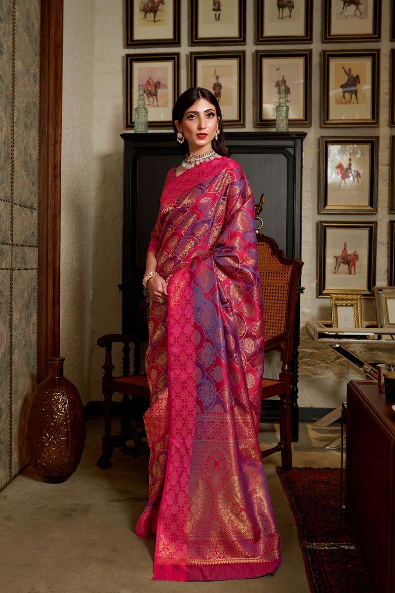 Art Silk Fabric Designer Traditional Wear Rani Color Weaving Work Saree