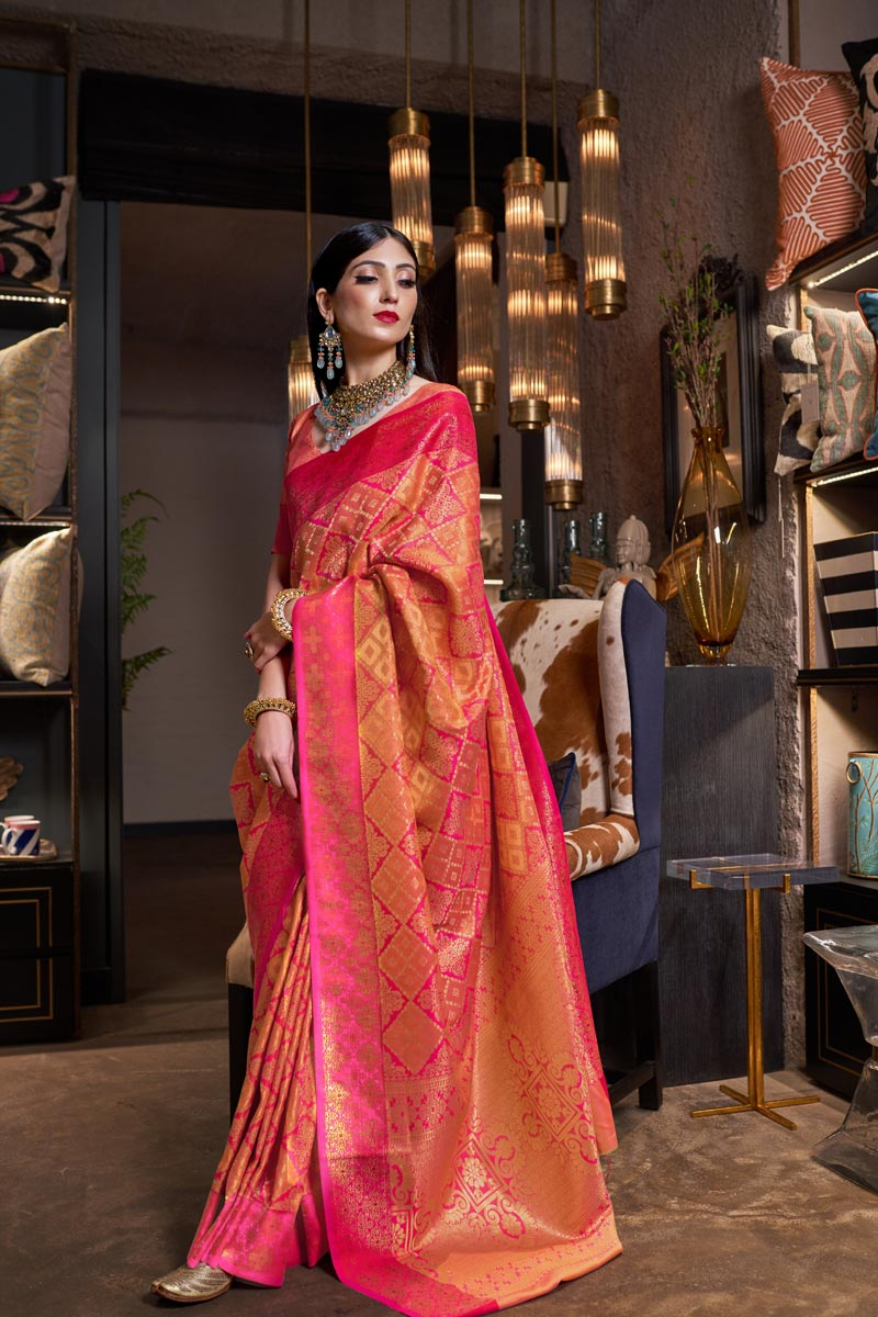 Traditional Wear Art Silk Fabric Designer Weaving Work Saree In Mustard Color