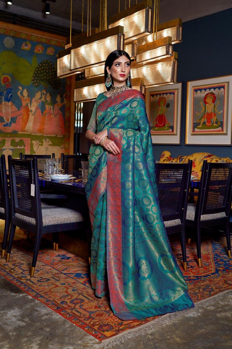Art Silk Fabric Traditional Wear Designer Sky Blue Color Weaving Work Saree