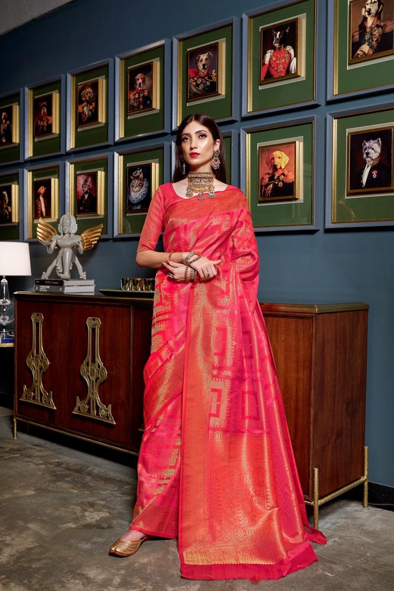 Traditional Wear Rani Color Designer Art Silk Fabric Weaving Work Saree
