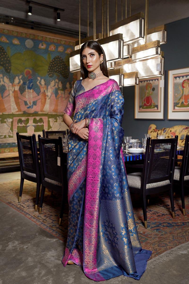 Navy Blue Color Traditional Wear Designer Weaving Work Saree In Art Silk Fabric
