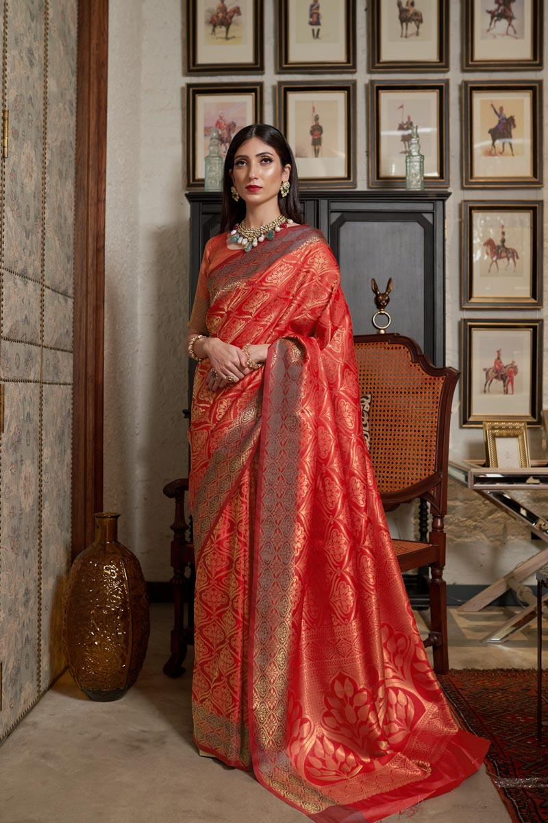 Traditional Wear Art Silk Fabric Designer Weaving Work Saree In Red Color