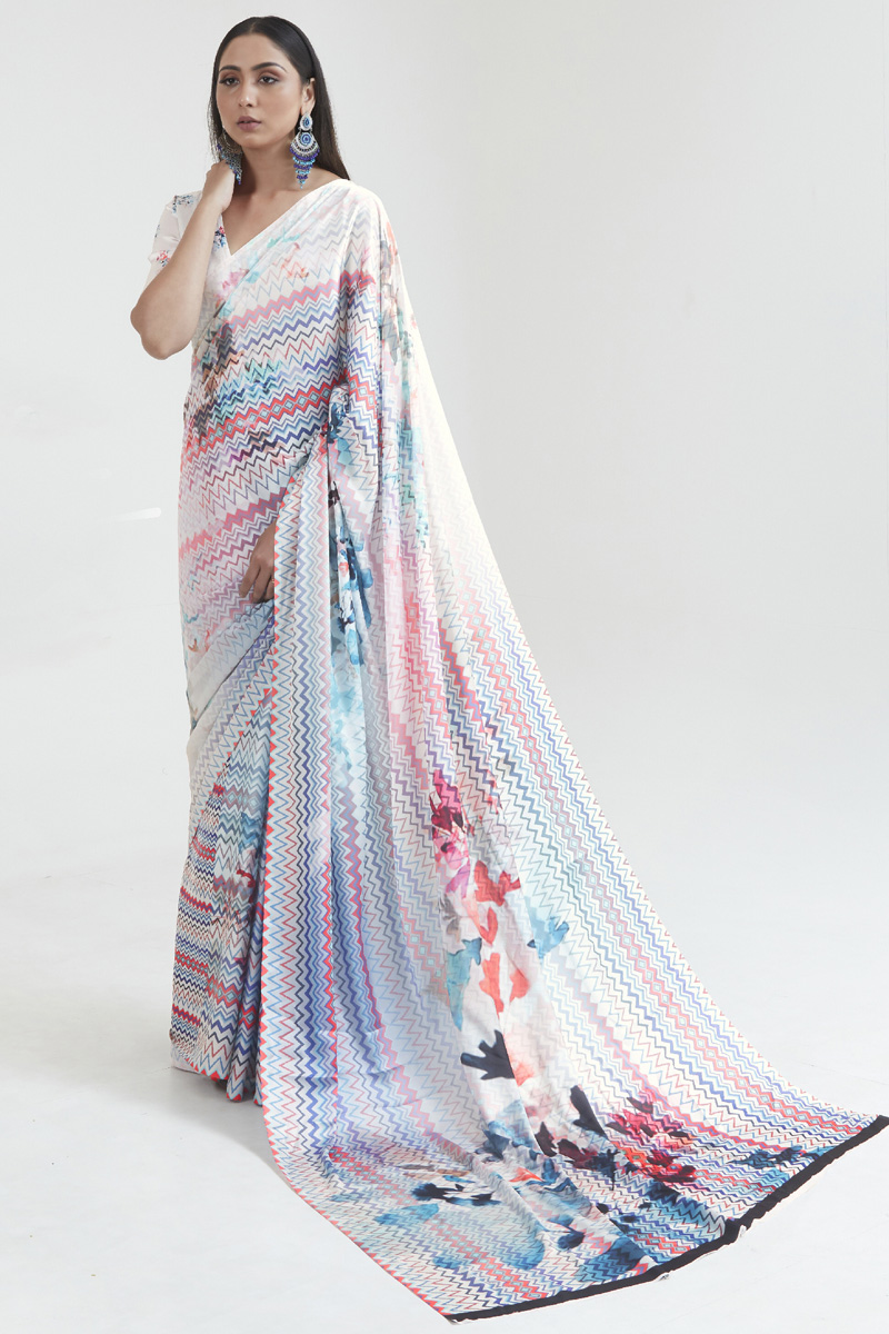Satin Fabric Fancy Daily Wear Multi Color Digital Printed Saree