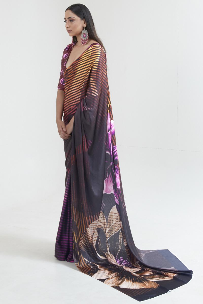 Multi Color Daily Wear Satin Fabric Fancy Digital Printed Saree