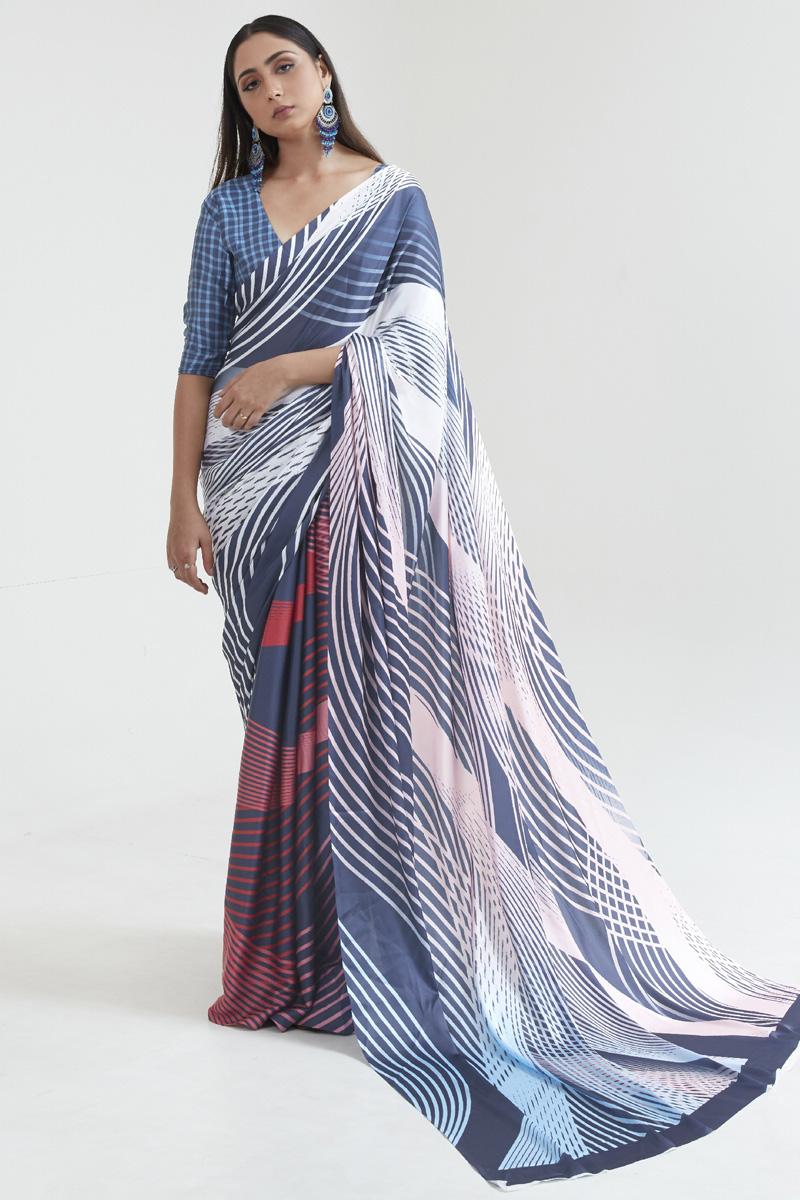 Satin Fabric Casual Wear Fancy Multi Color Digital Printed Saree