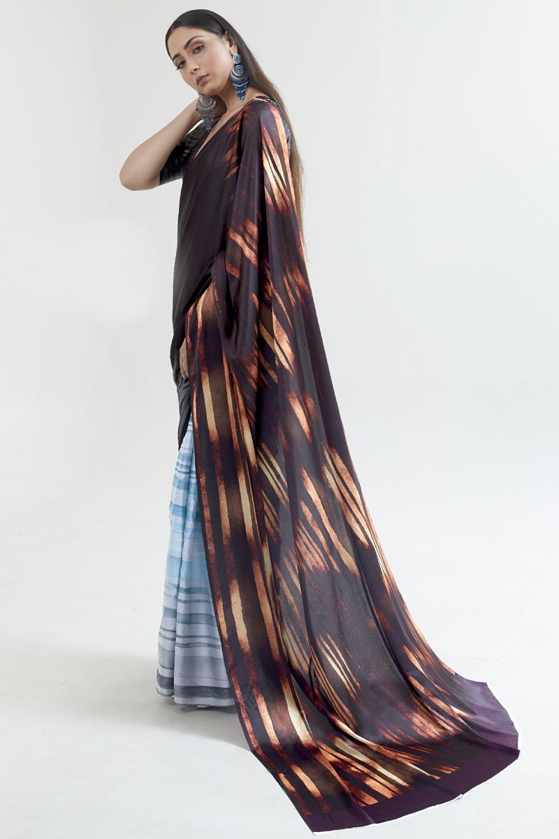 Casual Wear Multi Color Fancy Satin Fabric Digital Printed Saree