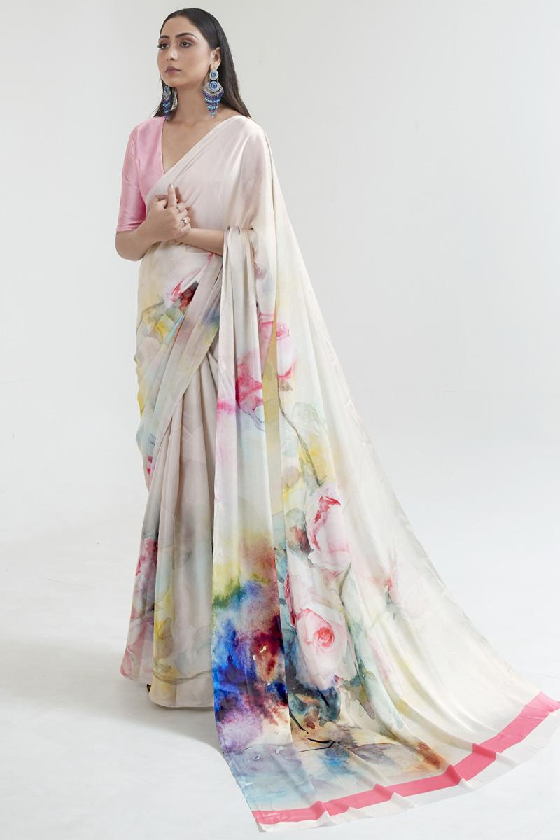 Casual Wear Satin Fabric Fancy Digital Printed Saree In Multi Color