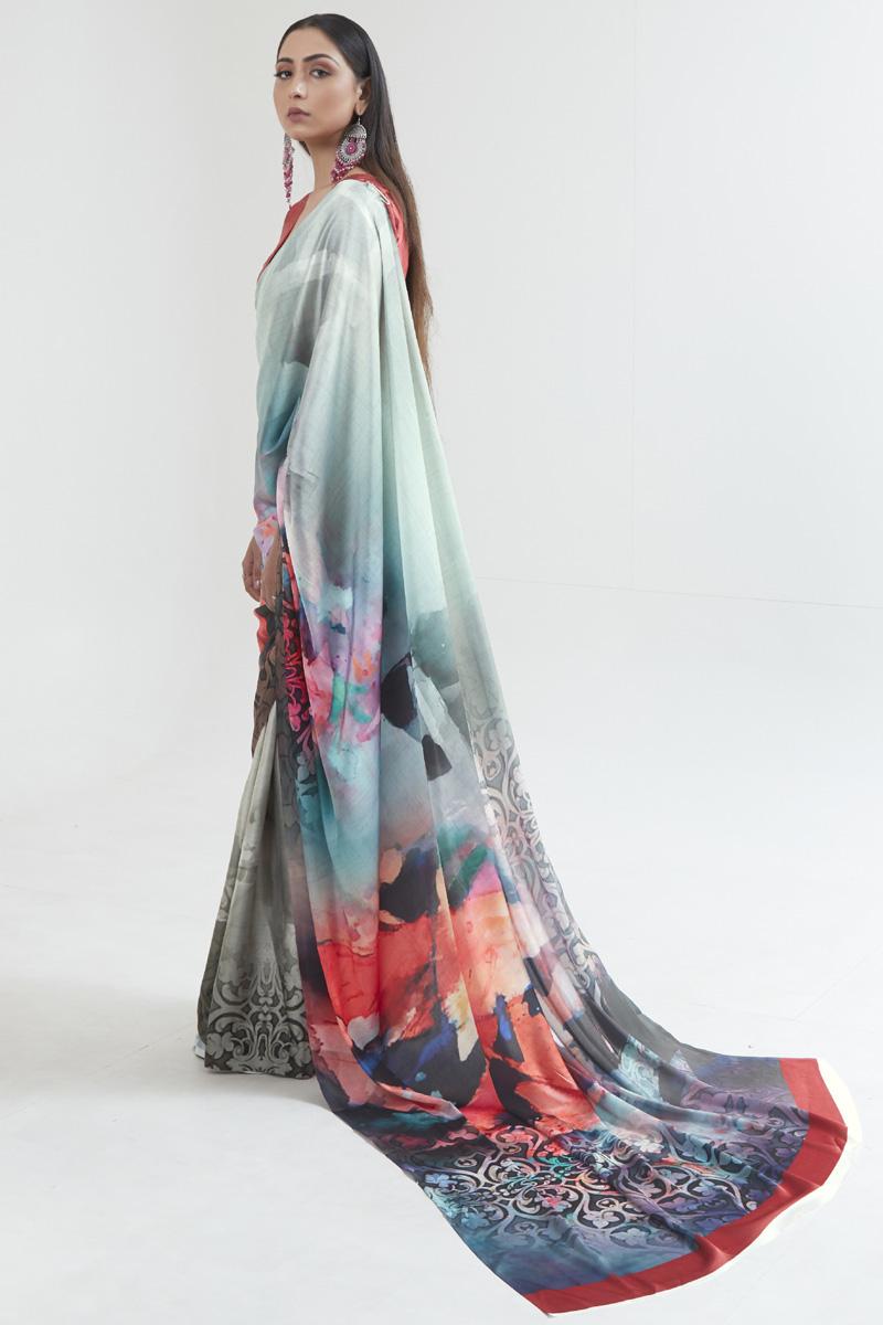 Multi Color Office Wear Fancy Satin Fabric Digital Printed Saree