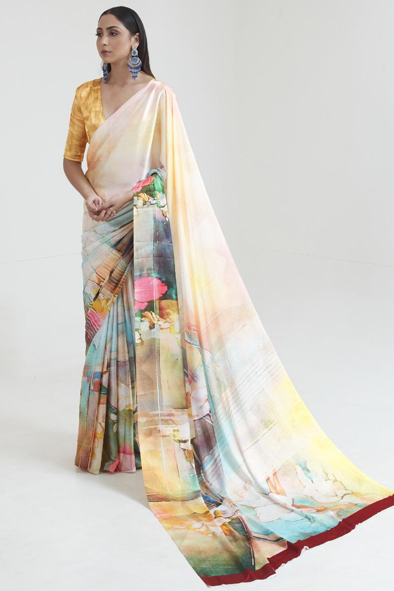 Satin Fabric Fancy Regular Wear Multi Color Digital Printed Saree