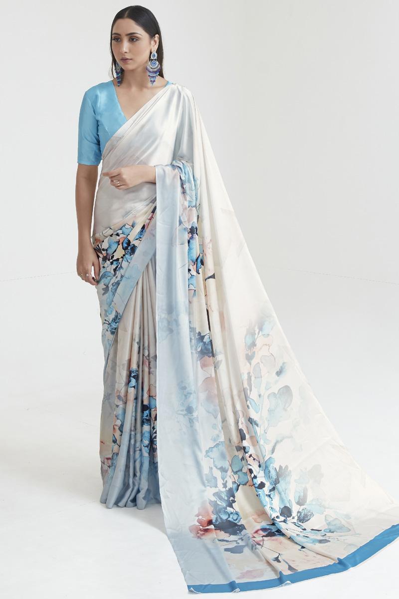 Multi Color Regular Wear Satin Fabric Fancy Digital Printed Saree