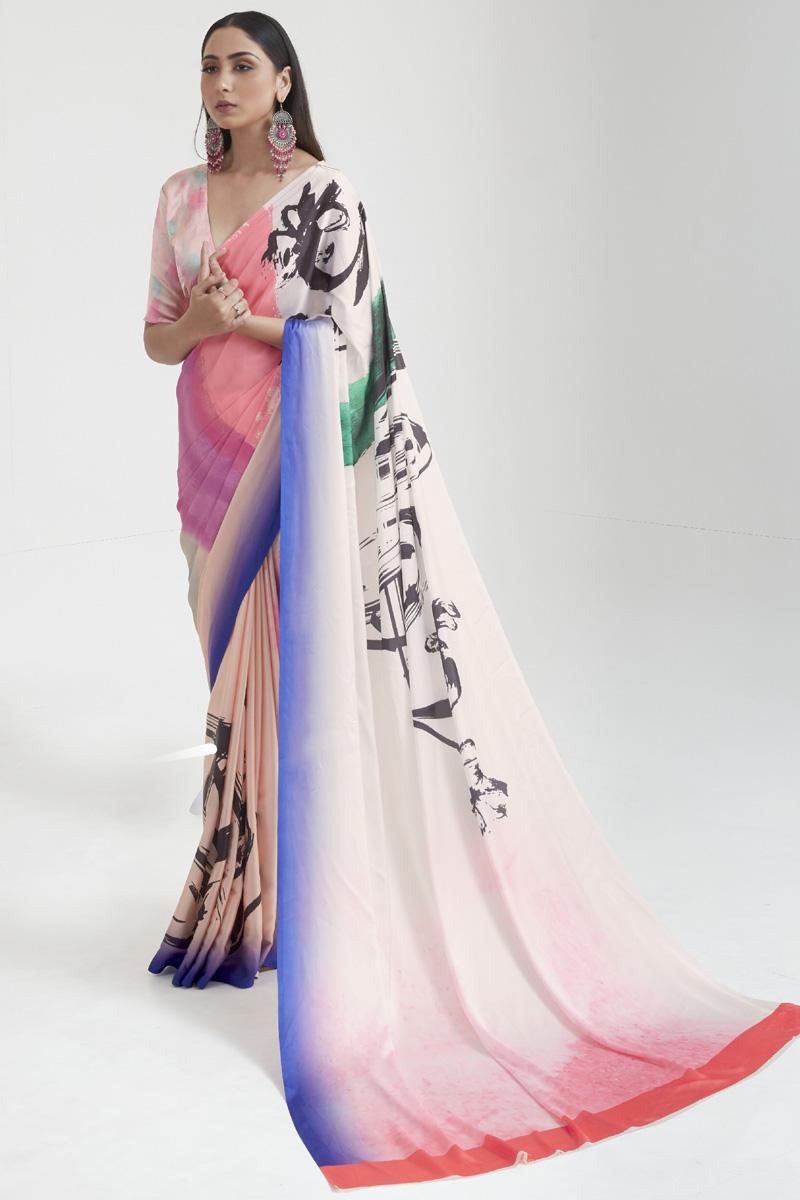 Satin Fabric Daily Wear Fancy Multi Color Digital Printed Saree