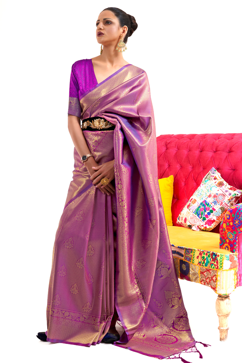 Purple Art Silk Fabric Weaving Work Function Wear Stylish Saree