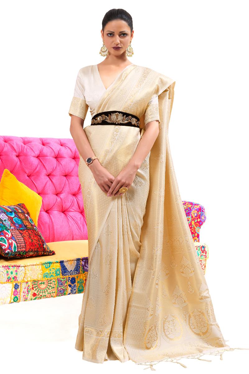 Art Silk Fabric Beige Color Weaving Work Festive Wear Fancy Saree