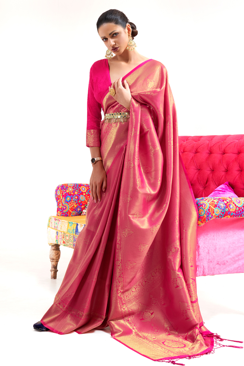 Art Silk Fabric Pink Color Sangeet Wear Designer Weaving Work Saree