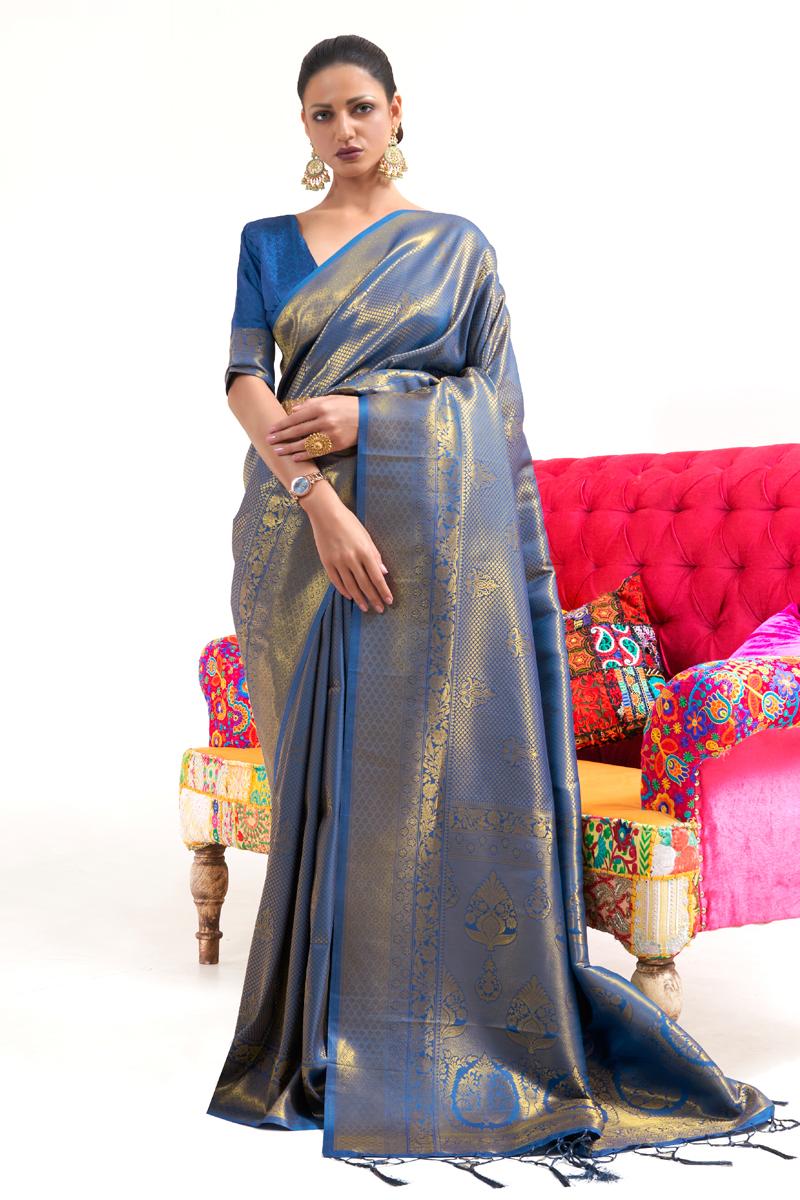 Art Silk Fabric Weaving Work Blue Color Wedding Wear Fancy Saree