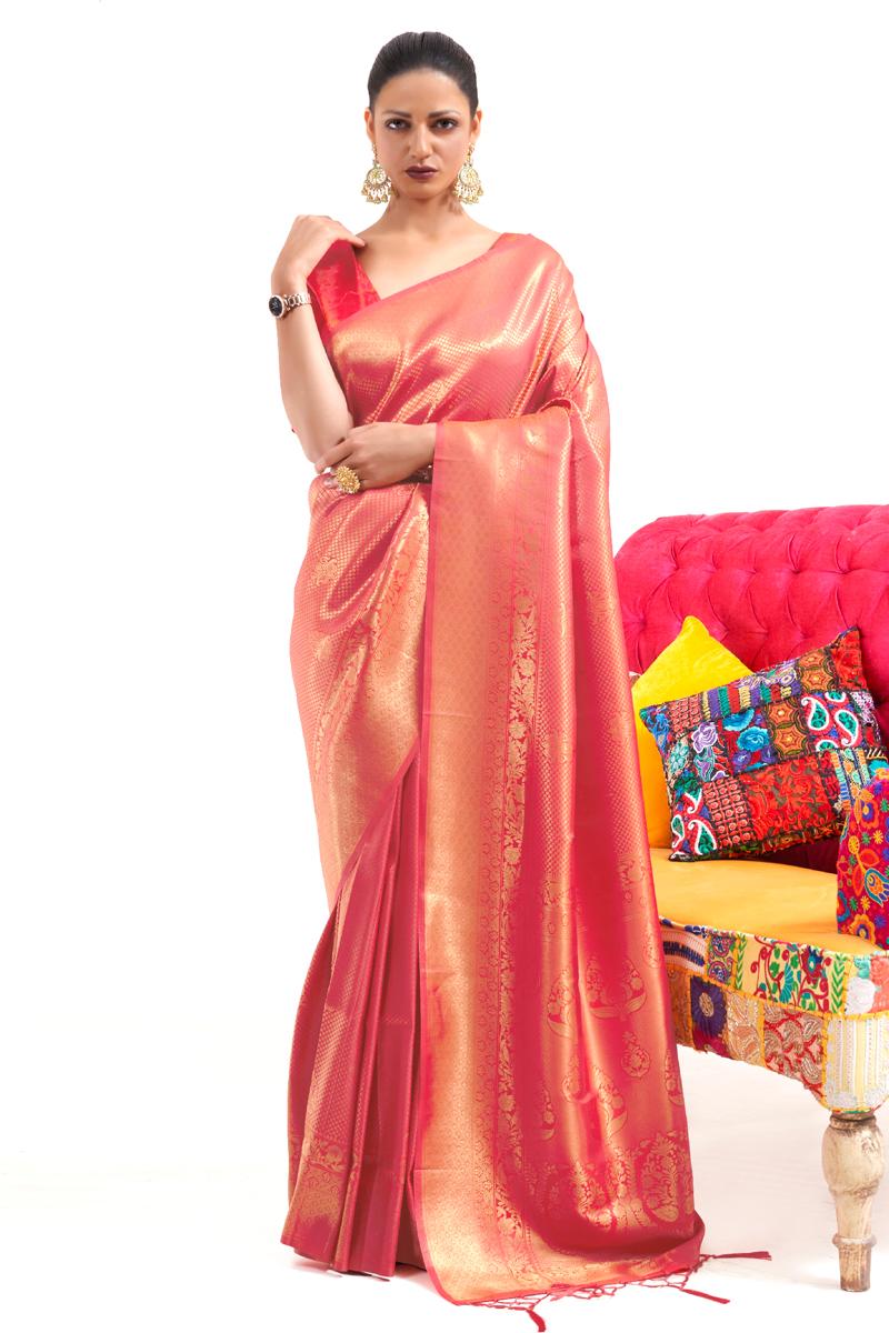 Peach Color Art Silk Fabric Reception Wear Weaving Work Saree