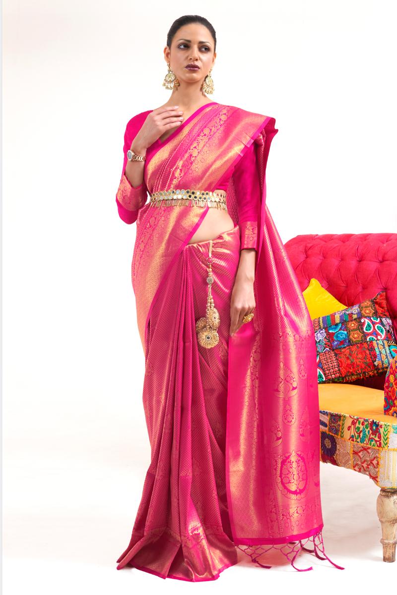 Rani Color Art Silk Fabric Stylish Weaving Work Function Wear Saree