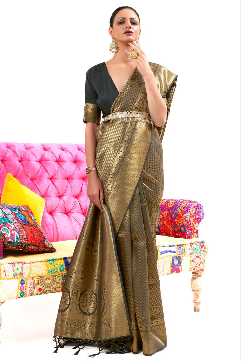 Art Silk Fabric Black Color Fancy Weaving Work Festive Wear Saree