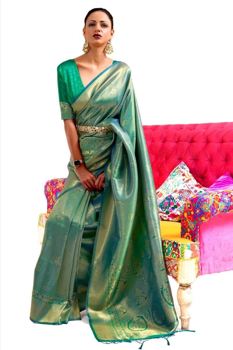 Art Silk Fabric Weaving Work Green Color Wedding Wear Saree