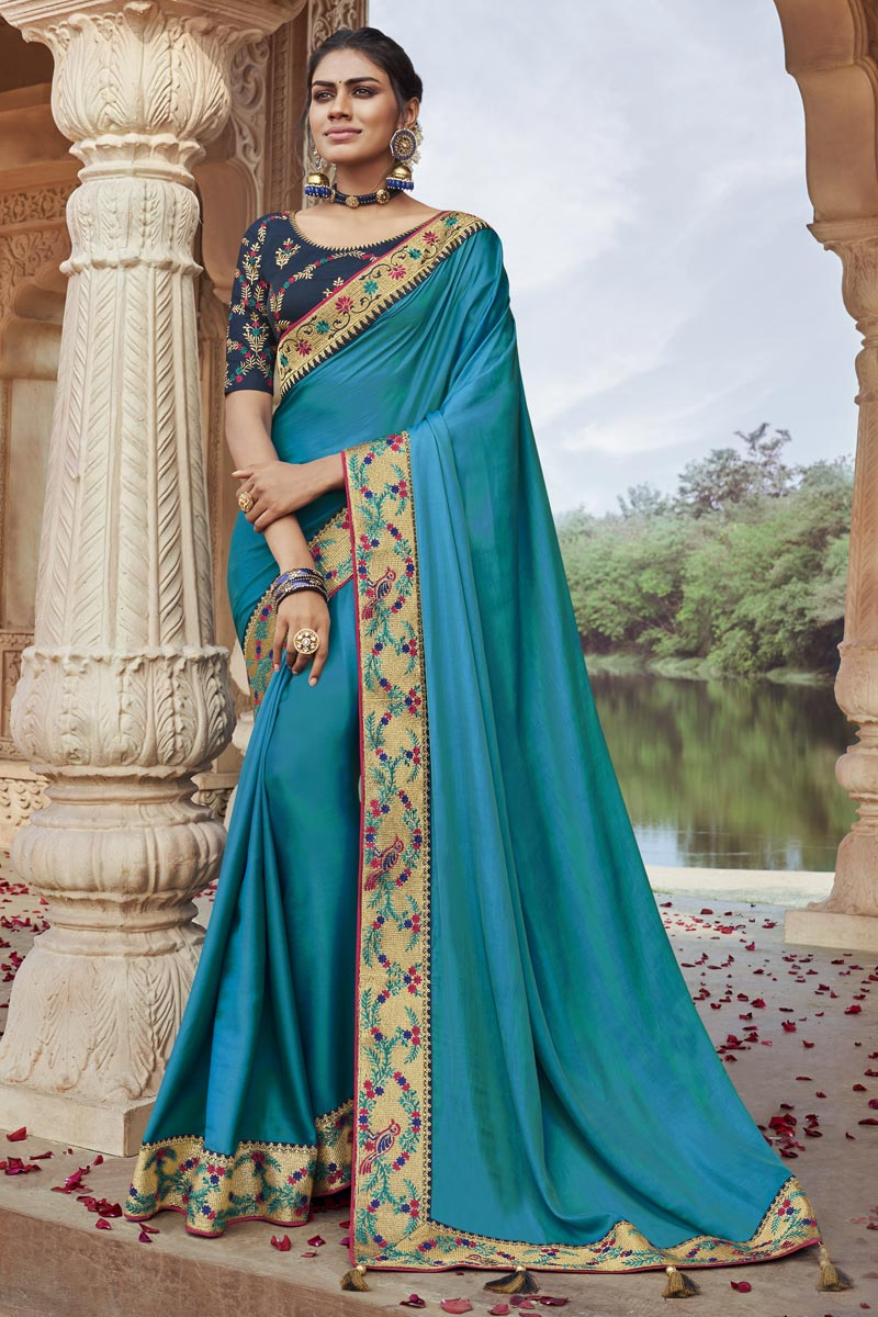 Party Wear Chic Fancy Fabric Embroidered Sky Blue Color Saree