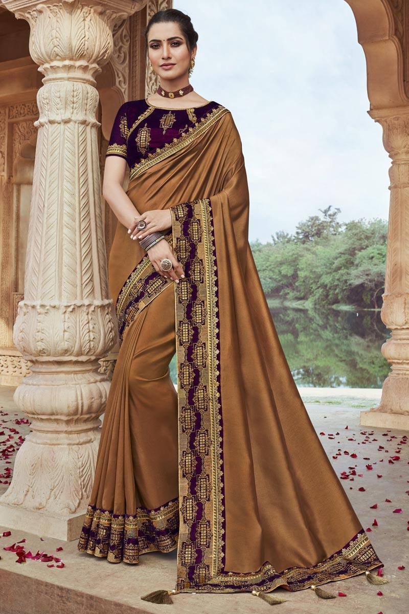 Brown Color Party Wear Fancy Fabric Chic Embroidered Saree