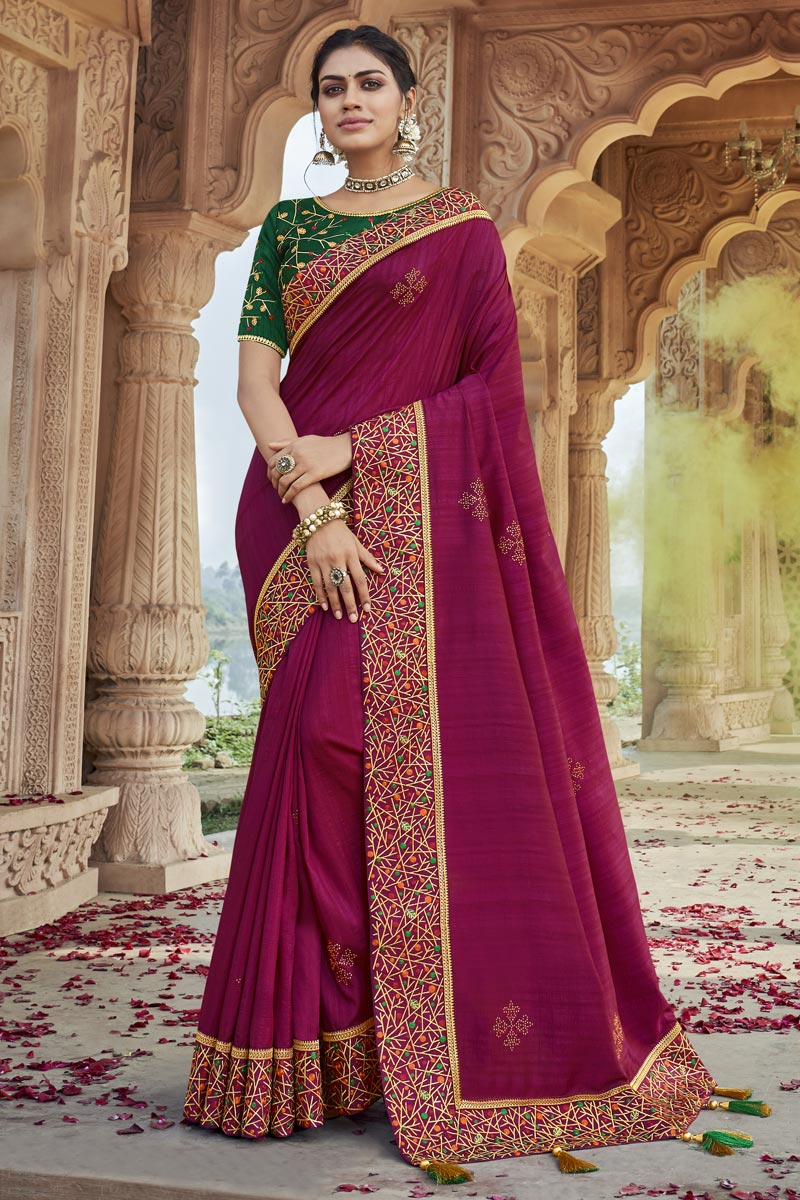 Party Wear Chic Rani Color Embroidered Fancy Fabric Saree