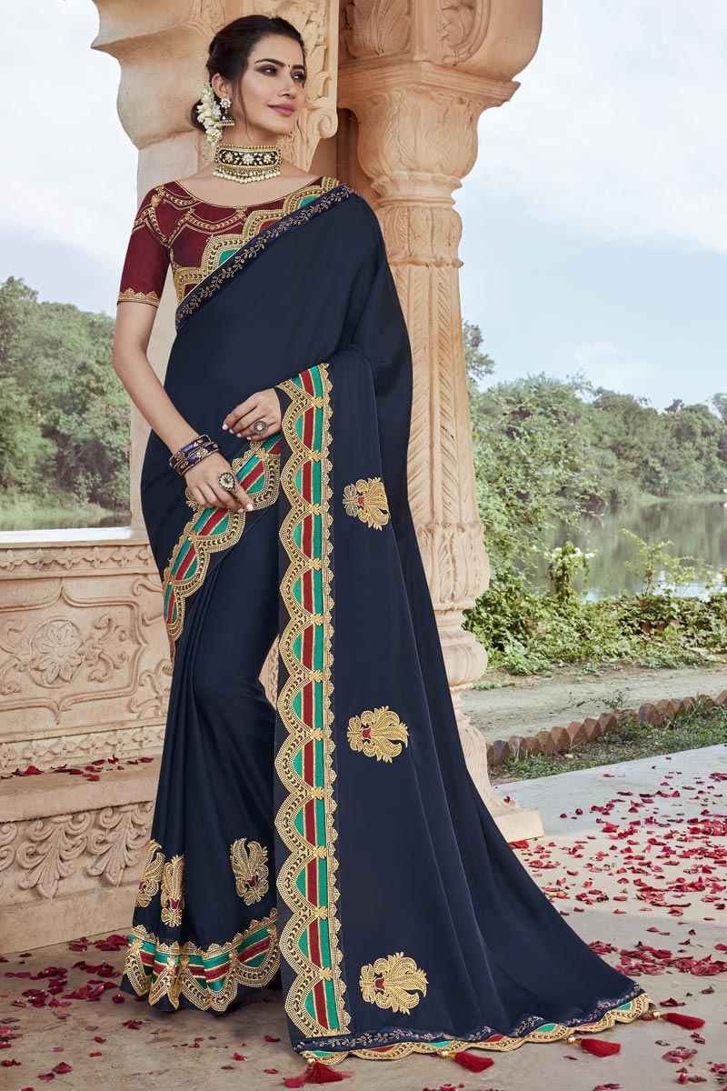Party Wear Navy Blue Color Chic Fancy Fabric Embroidered Saree